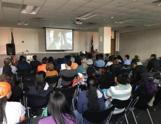 Students at HCC watch Be the One Documentary