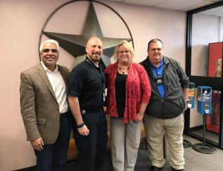 Dr. Dhaval Patel, CCHT-Texas Director Cynthia Aulds, and the Bee County Sheriff's Department