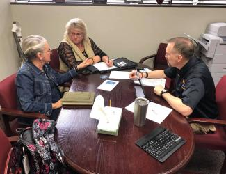 Nell Green and Cynthia Aulds meet with Matthew Short
