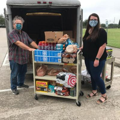 Picking up donated supplies from Sugar Land Baptist Church members. Thank you Alena Vaughn, Missions Pastor!