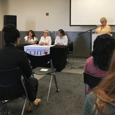Panelists Yessi D., Nell Green and Iris Ortiz address questions from Houston Community College students
