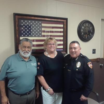 Mike Garcia (Chamber of Commerce), Cynthia Aulds and Eagle Pass Police Chief Guajardo discuss our upcoming Conference